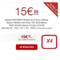 Free Mobile propose jusqu'à 4 forfaits illimités 20Go à 15.99€