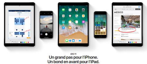 Des iPad et des iPhone ainsi que le logo iOS11 dessous