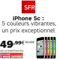 Bon plan SFR : iPhone 5C à prix exceptionnel avec le forfait Power 5Go à partir de 23.99€