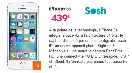 iphone 5s son prix avec un forfait sans engagement sosh free virgin bouygues ou nrj mobile. Black Bedroom Furniture Sets. Home Design Ideas