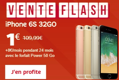 L'iPhone 6s 32Go à 1 euro avec le forfait Power 50Go (vente flash)
