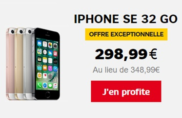 bonne affaire iphone se 32go moins 300 euros sans abonnement chez sfr. Black Bedroom Furniture Sets. Home Design Ideas