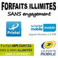 Forfait illimité sans engagement à moins de 6€ chez La Poste Mobile et Prixtel, lequel choisir ?