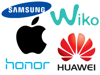 Image du logo des marques Samsung, Huawei, Honor, Wiko, Apple