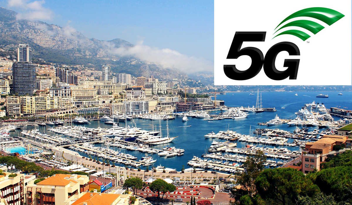 Photo de Monaco avec le logo 5G.
