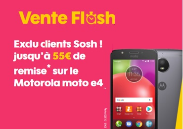 vente flash sosh exclu client le lenovo moto e4 74 euros. Black Bedroom Furniture Sets. Home Design Ideas
