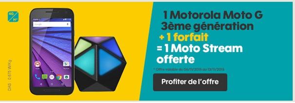 Bon plan Sosh : 30€ de remise sur le Moto G 3ème génération et le Moto Stream offert !