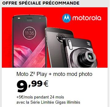 Offre spéciale pour la precommande d'un Moto Z2 play avec SFR