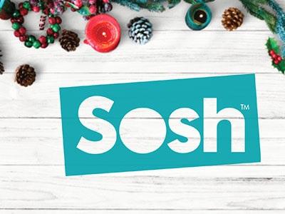 logo sosh entouré de décorations de Noël