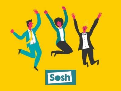 Trois personnages qui sautent de joie grâce à SOSH