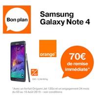 Bon plan Orange : 170€ de remise sur le Samsung Galaxy Note 4 avec un forfait Origami Jet !