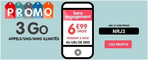 Le forfait Woot Illimité 3Go à 6.99€ chez NRJ Mobile pendant 15 jours