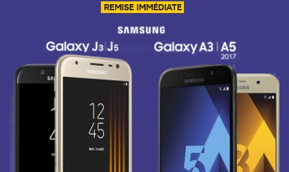 op ration samsung remise imm diate sur le galaxy j3 j5 2017 ou les galaxy a 2017 chez sfr. Black Bedroom Furniture Sets. Home Design Ideas