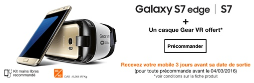 samsung galaxy s7, galaxy s7 edge, précommandes orange