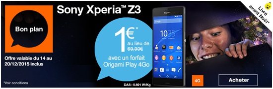 sony, xperia z3, vente flash, origami play