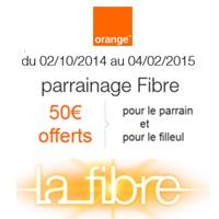 Parrainage Orange Fibre : Jusqu'à 600€ offerts au parrain et 50€ au filleul !