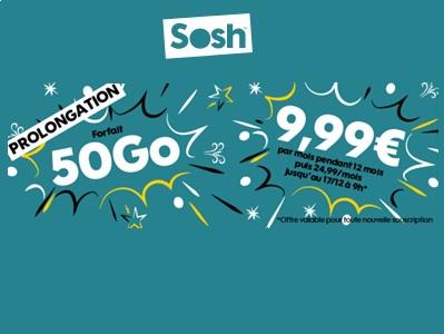 Prologation de la promotion Sosh forfait 50Go jusqu'au 17 décembre 2018