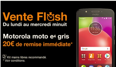 Le Moto E4 en vente flash chez Orange