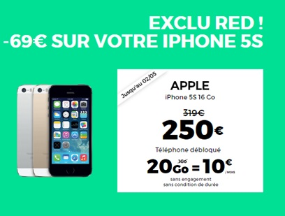 Bon plan RED BY SFR : l'iPhone 5S neuf à seulement 250 euros