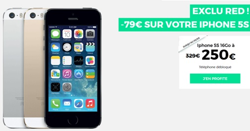 iPhone 5S en vente flash chez RED BY SFR