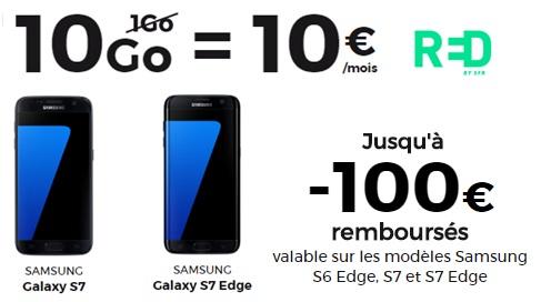 Bon plan : Galaxy S7 ou Galaxy S7 Edge avec la série limitée RED By SFR 10Go à 10 euros