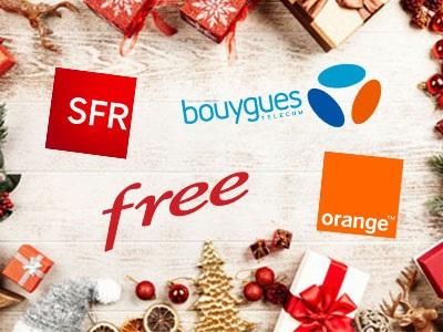 logos des 4 opérateurs principaux entourés de décorations de Noël