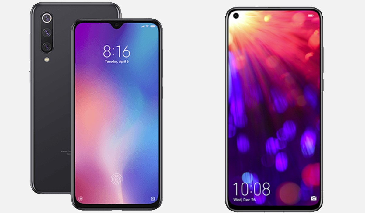 vue de face du xiaomi mi9 SE et honor view 20