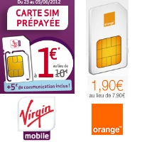 cartes prépayées Orange et Virgin mobile