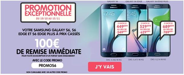 Jusqu'à 170€ de remise sur le Samsung Galaxy S6, S6 Edge et S6 Edge Plus chez NRJ Mobile