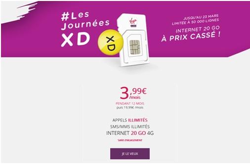 Mars 2016 - retour de la promo XD sur le forfait 20 Go à 3.99€ pendant 1 an