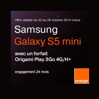 Bon plan Orange : 100€ de remise sur le samsung Galaxy S5 Mini