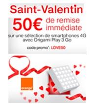 Promos spéciales Saint-Valentin : 50€ de remise sur une sélection de Smartphones 4G chez Orange !
