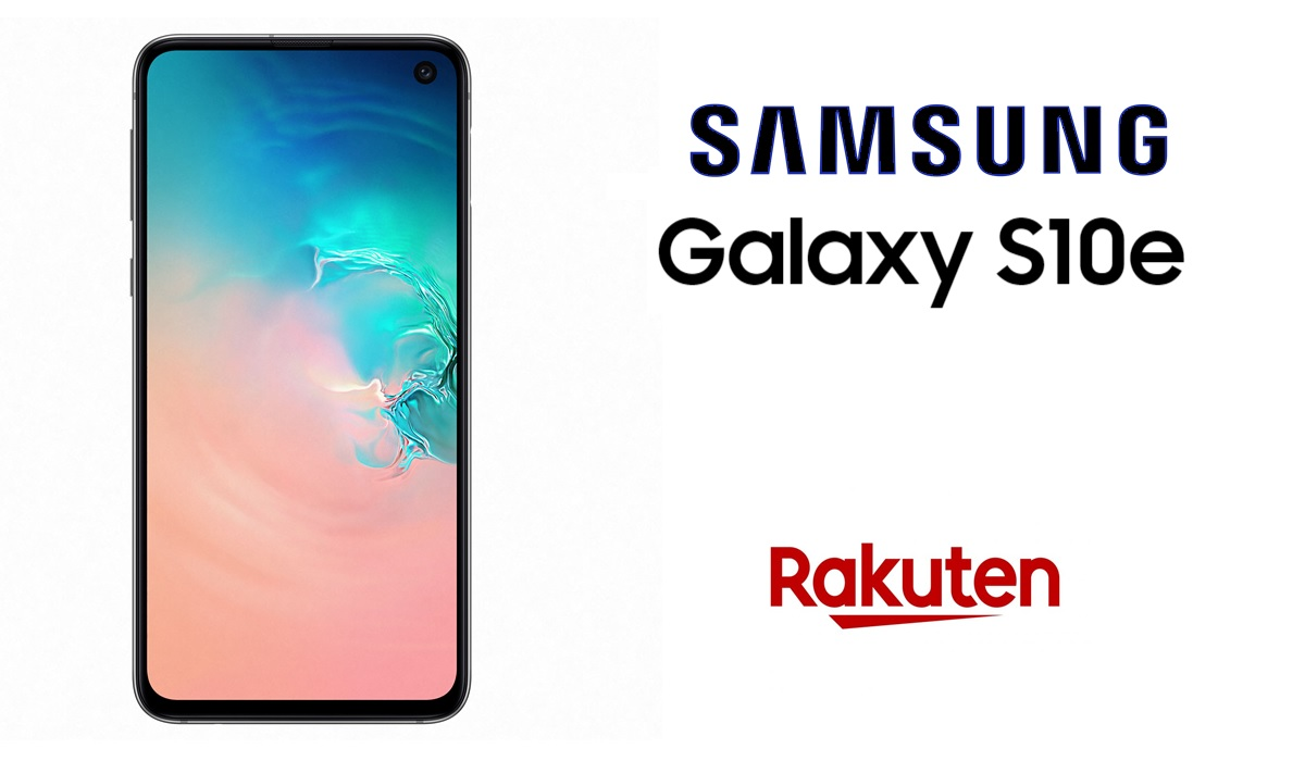 Photo de la face avant du galaxy S10e avec logo samsung et logo rakuten à gauche