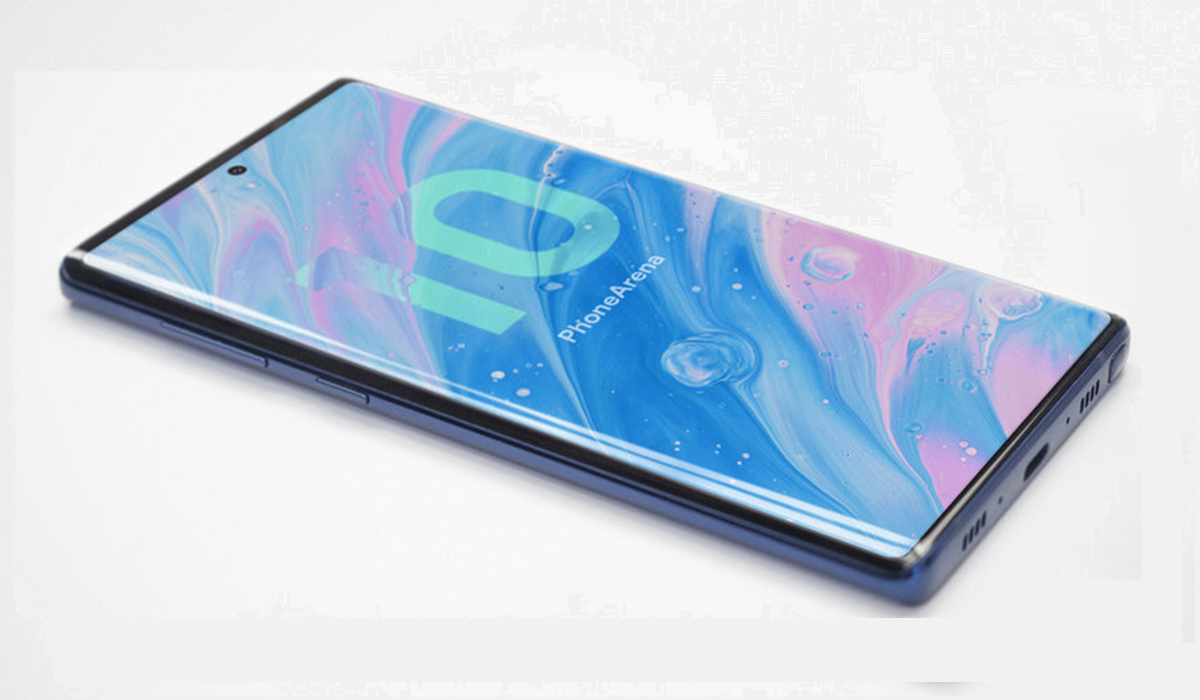 photo de la face avant d'un concept de Samsung Galaxy Note 10