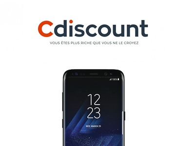 photo du galaxy s8 avec le logo de Cdiscount