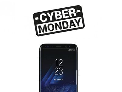 photo du galaxy S8+ et du logo Cyber Monday