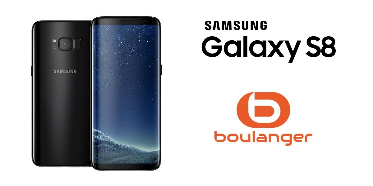 photo de la face avant et arrière du galaxy S8 avec le logo du smartphone et le logo boulanger