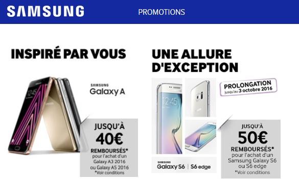 Zoom sur les offres de remboursement Samsung (smartphone) de l'été 2016 !