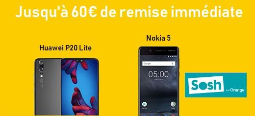 Soldes d'été SOSH : Jolies baisses de prix sur les Nokia 5 et Huawei P20 Lite