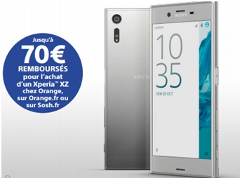 bonne affaire le sony xperia xz platine euros sans forfait chez orange. Black Bedroom Furniture Sets. Home Design Ideas