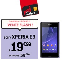 vente flash nrj mobile le sony xperia e3 en promo avec le forfait 4g 500mo. Black Bedroom Furniture Sets. Home Design Ideas