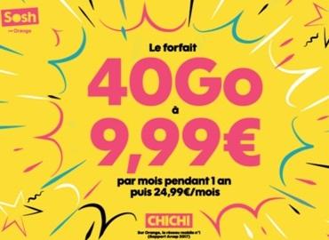 Le forfait SOSH 40Go à 9.99 euros sur le réseau Orange à saisir rapidement