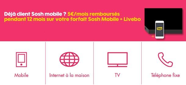 Pack box + mobile à partir de 24.99€ par mois chez SOSH pour les clients sosh mobile et 29.99€ pour les autres