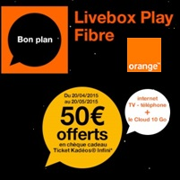 bon plan fibre orange 50 offerts en ch que cadeau avec la livebox play ou jet. Black Bedroom Furniture Sets. Home Design Ideas