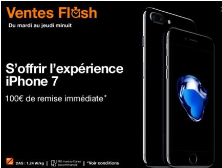 vente flash Orange iphone 7 et 7 Plus