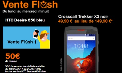 ventes flash Orange htc desire 650 ou croscall trekker x3