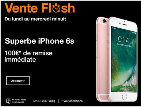Vente flash Orange : 100 euros de remise immédiate sur l'iPhone 6s ou 6s Plus