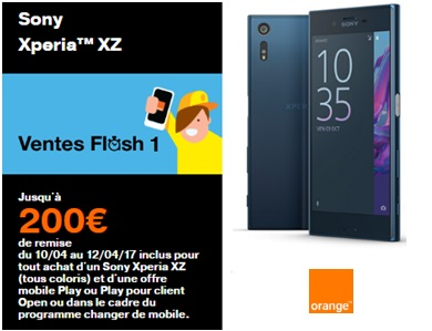 vente flash xperia XZ orange