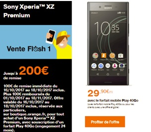 Le Sony Xperia XZ Premium en vente flash chez Orange