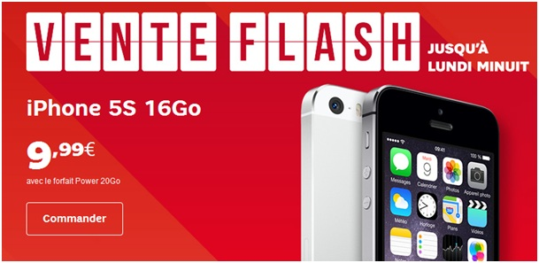 L'iPhone 5S en vente flash ce Week-end chez SFR à 9.99 euros